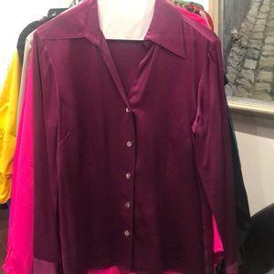 Tesori purple 100% silk long sleeve blouse